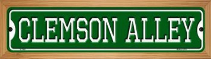 Clemson Alley Novelty Wood Mounted Small Metal Street Sign WB-K-1069