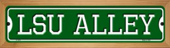 LSU Alley Novelty Wood Mounted Small Metal Street Sign WB-K-1078