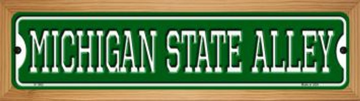 Michigan State Alley Novelty Wood Mounted Small Metal Street Sign WB-K-1082