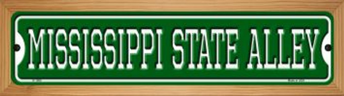 Mississippi State Alley Novelty Wood Mounted Small Metal Street Sign WB-K-1085
