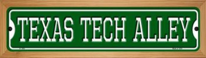 Texas Tech Alley Novelty Wood Mounted Small Metal Street Sign WB-K-1095