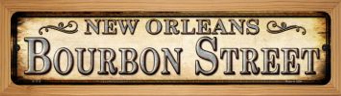 Bourbon Street New Orleans Novelty Wood Mounted Small Metal Street Sign WB-K-1113