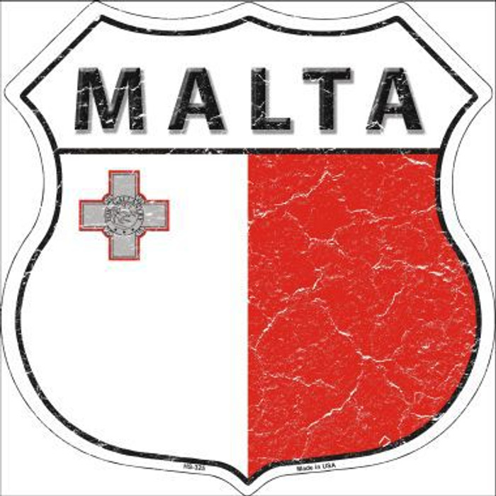 Malta Country Flag Highway Shield Metal Sign