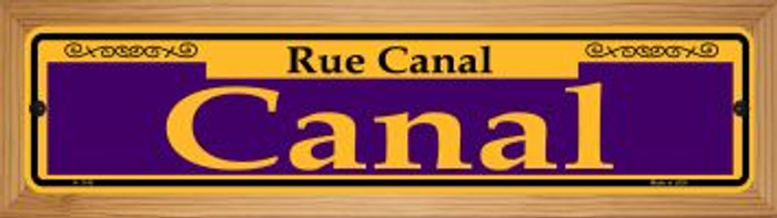 Canal Purple Novelty Wood Mounted Small Metal Street Sign WB-K-1145