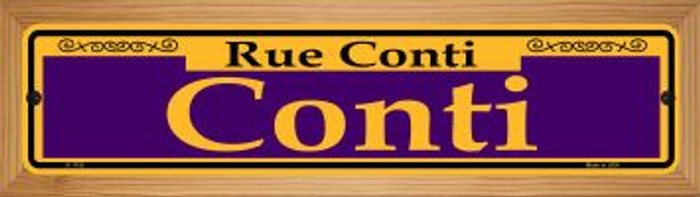 Conti Purple Novelty Wood Mounted Small Metal Street Sign WB-K-1155