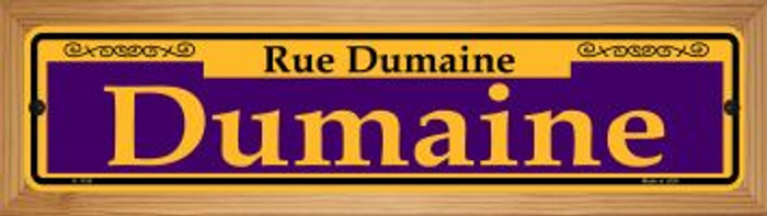 Dumaine Purple Novelty Wood Mounted Small Metal Street Sign WB-K-1158