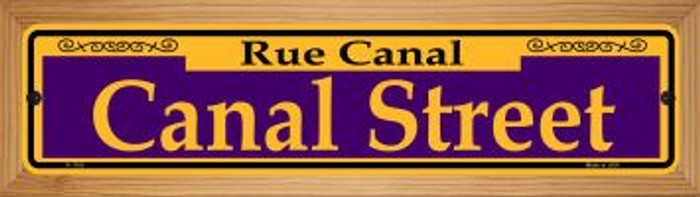 Canal Street Purple Novelty Wood Mounted Small Metal Street Sign WB-K-1165