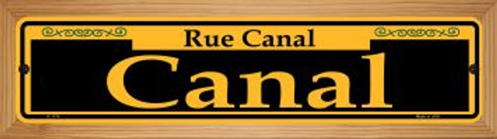 Canal Yellow Novelty Wood Mounted Small Metal Street Sign WB-K-1174