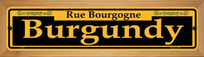 Burgundy Yellow Novelty Wood Mounted Small Metal Street Sign WB-K-1188