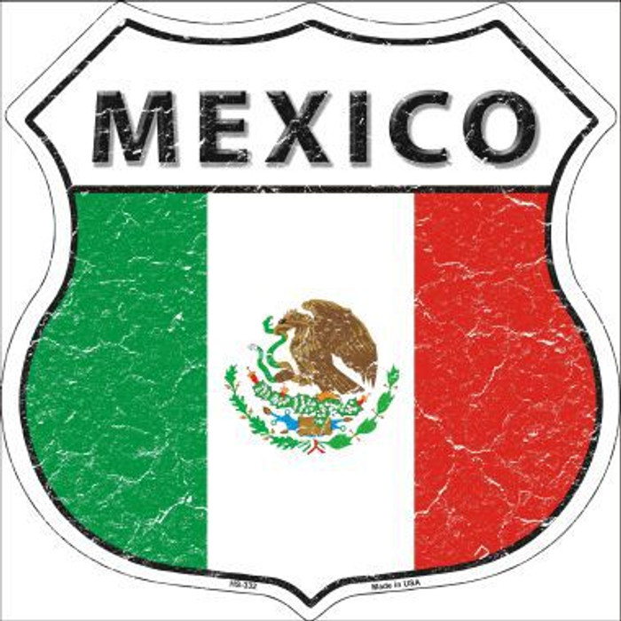 Mexico Country Flag Highway Shield Metal Sign