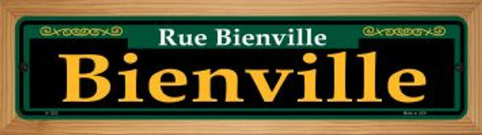 Bienville Green Novelty Wood Mounted Small Metal Street Sign WB-K-1202