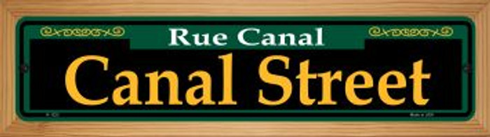 Canal Street Green Novelty Wood Mounted Small Metal Street Sign WB-K-1223