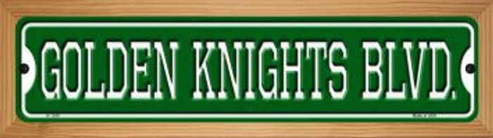 Golden Knights Blvd Novelty Wood Mounted Small Metal Street Sign WB-K-1240