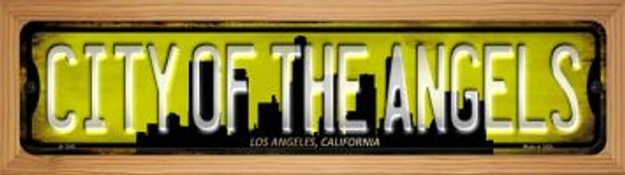 Los Angeles California City of Angels Novelty Wood Mounted Small Metal Street Sign WB-K-1242