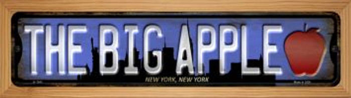 New York The Big Apple Novelty Wood Mounted Small Metal Street Sign WB-K-1243