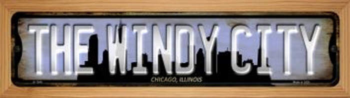 Chicago Illinois The Windy City Novelty Wood Mounted Small Metal Street Sign WB-K-1245