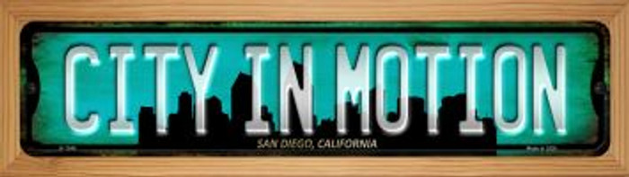 San Diego California City in Motion Novelty Wood Mounted Small Metal Street Sign WB-K-1246