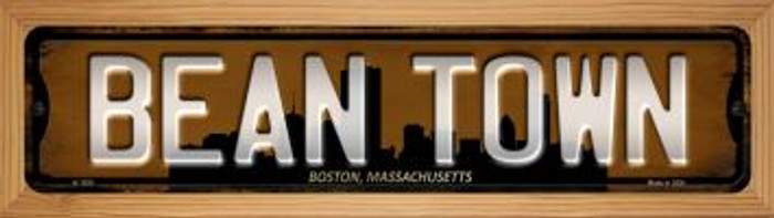 Boston Massachusetts Bean Town Novelty Wood Mounted Small Metal Street Sign WB-K-1250