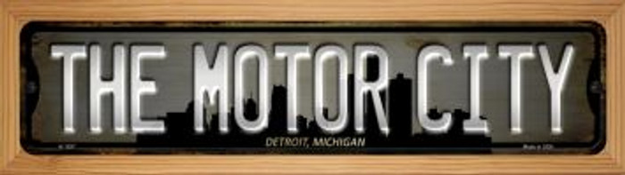 Detroit Michigan The Motor City Novelty Wood Mounted Small Metal Street Sign WB-K-1257