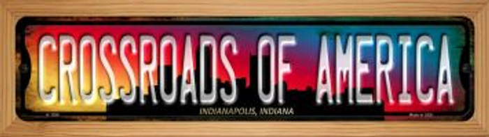 Indianapolis Indiana Crossroads of America Novelty Wood Mounted Small Metal Street Sign WB-K-1258