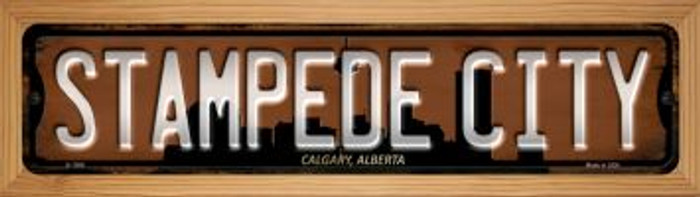 Calgary Alberta Stampede City Novelty Wood Mounted Small Metal Street Sign WB-K-1266