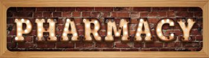Pharmacy Bulb Lettering Novelty Wood Mounted Small Metal Street Sign WB-K-1387
