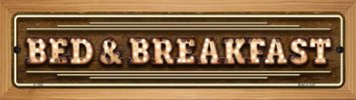 Bed and Breakfast Bulb Lettering Novelty Wood Mounted Small Metal Street Sign WB-K-1389