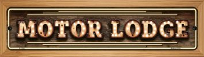 Motor Lodge Bulb Lettering Novelty Wood Mounted Small Metal Street Sign WB-K-1390