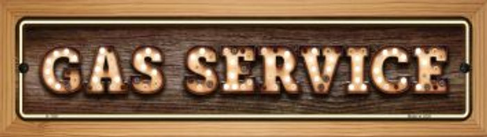 Gas Service Bulb Lettering Novelty Wood Mounted Small Metal Street Sign WB-K-1391