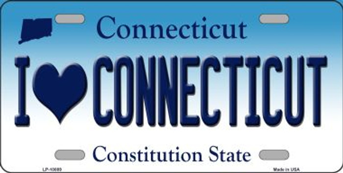 I Love Connecticut Novelty Metal Vanity License Plate Tag LP-10889