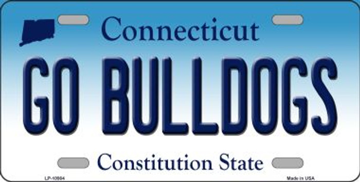Go Bulldogs Connecticut Novelty Metal Vanity License Plate Tag LP-10904