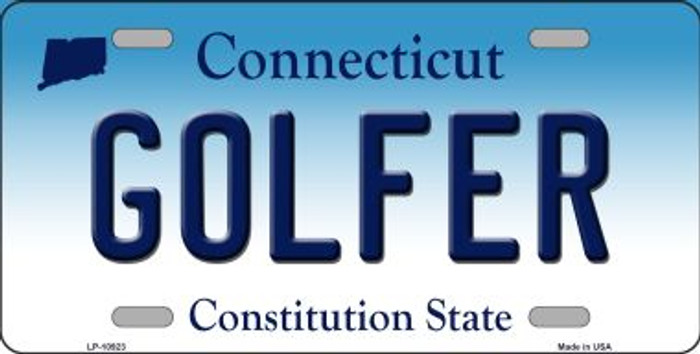 Golfer Connecticut Novelty Metal Vanity License Plate Tag LP-10923