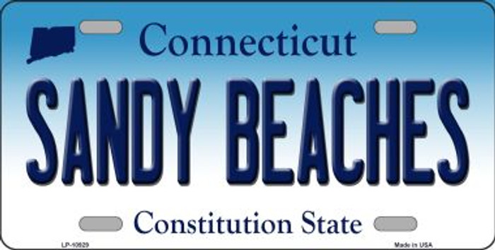 Sandy Beaches Connecticut Novelty Metal Vanity License Plate Tag LP-10929