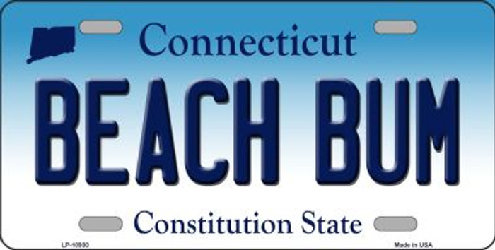 Beach Bum Connecticut Novelty Metal Vanity License Plate Tag LP-10930