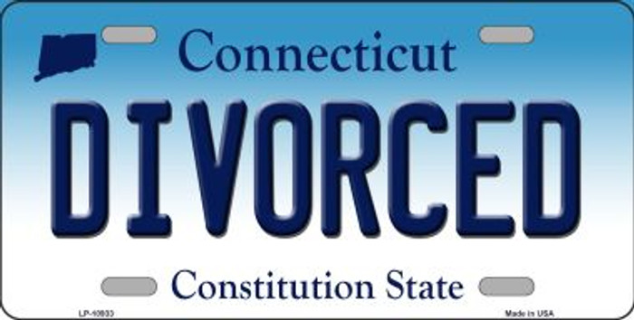 Divorced Connecticut Novelty Metal Vanity License Plate Tag LP-10933