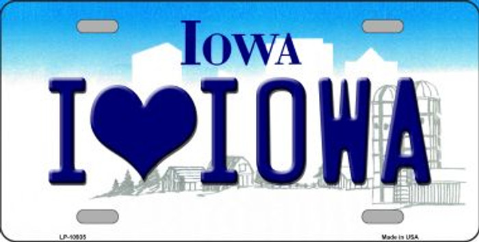 I Love Iowa Novelty Metal Vanity License Plate Tag LP-10935