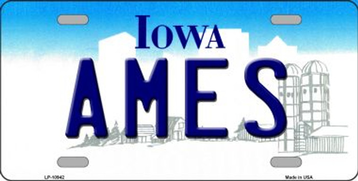 Ames Iowa Novelty Metal Vanity License Plate Tag LP-10942