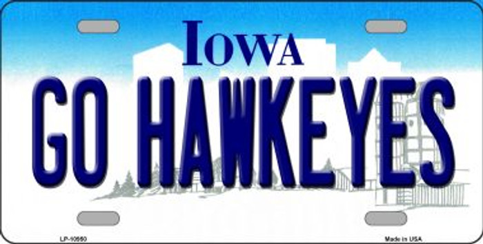 Go Hawkeyes Iowa Novelty Metal Vanity License Plate Tag LP-10950