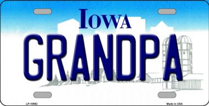 Grandpa Iowa Novelty Metal Vanity License Plate Tag LP-10952