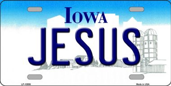Jesus Iowa Novelty Metal Vanity License Plate Tag LP-10956