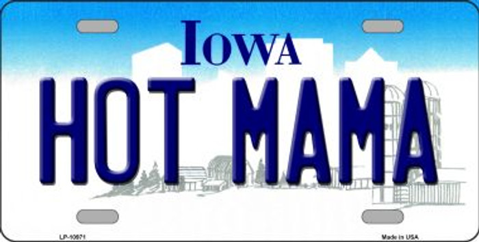 Hot Mama Iowa Novelty Metal Vanity License Plate Tag LP-10971
