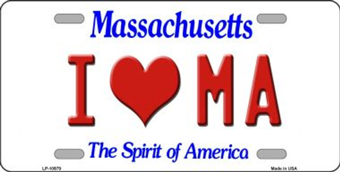 I Love MA Massachusetts Novelty Metal Vanity License Plate Tag LP-10979