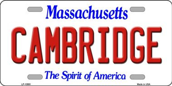 Cambridge Massachusetts Novelty Metal Vanity License Plate Tag LP-10991