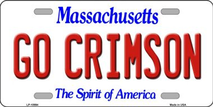 Go Crimson Massachusetts Novelty Metal Vanity License Plate Tag LP-10994