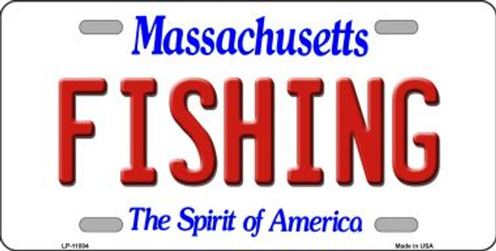 Fishing Massachusetts Novelty Metal Vanity License Plate Tag LP-11004
