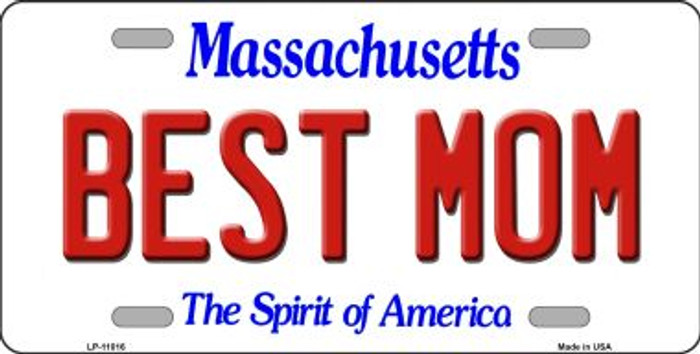Best Mom Massachusetts Novelty Metal Vanity License Plate Tag LP-11016