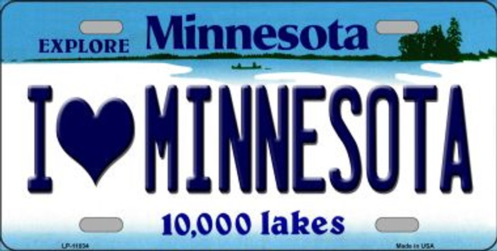 I Love Minnesota Novelty Metal Vanity License Plate Tag LP-11034