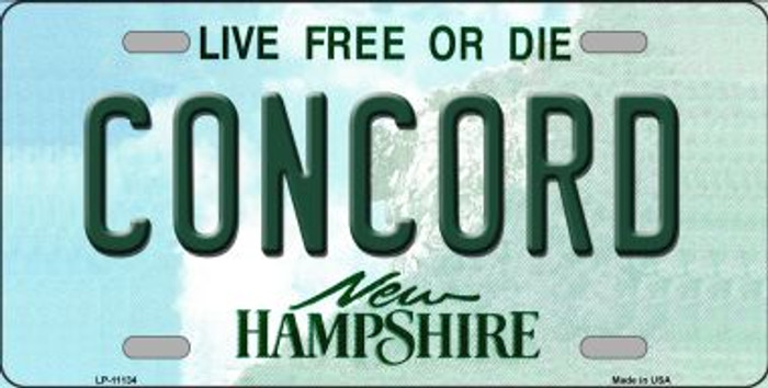 Concord New Hampshire Novelty Metal Vanity License Plate Tag LP-11134