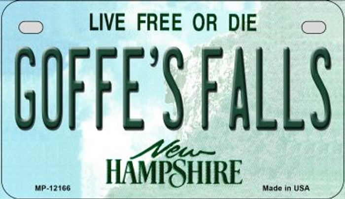 Goffes Falls New Hampshire Novelty Metal Motorcycle Plate MP-12166