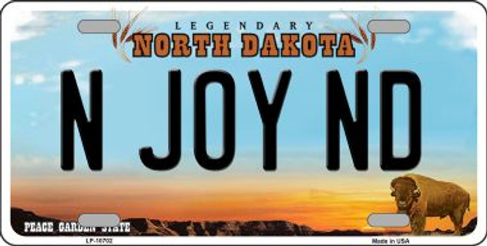 N Joy ND North Dakota Novelty Metal Vanity License Plate Tag LP-10702